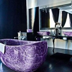 Amethyst bath tub anyone? . Imagine waking up to this purple beauty ✨ . By arcamosaico.com #amethyst #crystals #stone #dreaminterior #interiorinspo