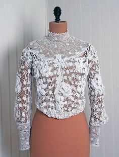 1stdibs.com | 1890's Victorian White Irish-Crochet Lace Handmade Blouse