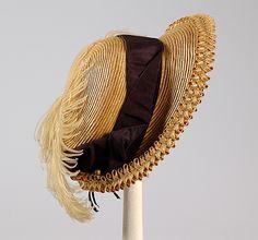 Bonnet. Straw, silk, feather. American. Ca 1890