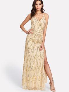 0b90220326 Crisscross Back High Slit Sequin Dress EmmaCloth-Women Fast Fashion Online