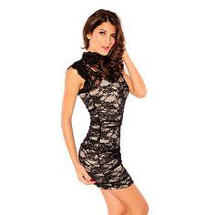 Women's Black Elegant Floral Mesh Lace Dress(Bust:86-102cm Waist:58-79cm Hip:90-104cm length:85cm) – USD $ 20.29