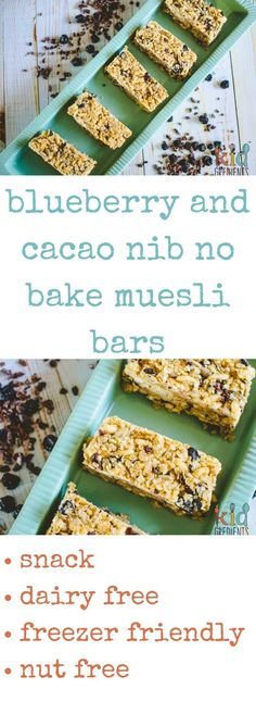 Freezable and super yummy, these blueberry and cacao nib no bake muesli bars are fantastic for the lunchbox! Perfect snack for afternoon or morning tea too. via @kidgredients