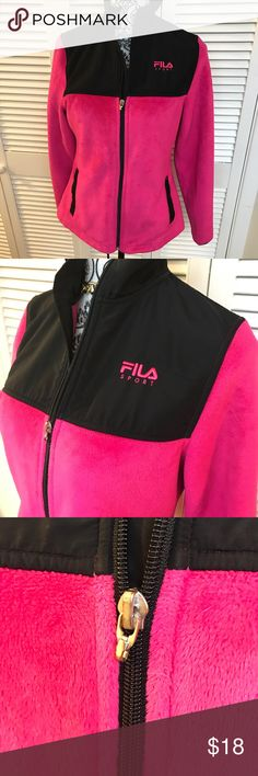FILA Sport Jacket Size xs  Hot pink and black  That very soft fuzzy material  100% polyester  Like new never worn except the zipper is missing the pull. See third picture. Still very easy to Zip! Fila Jackets & Coats