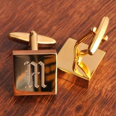 Engraved Addison High Polish Brass Cufflinks
