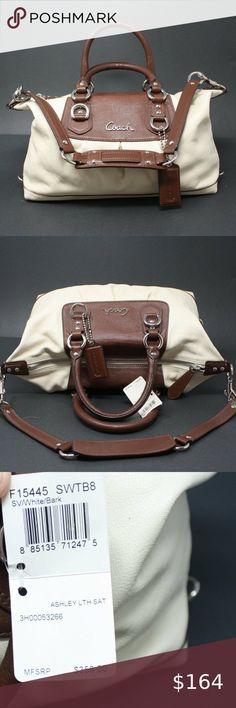 NWT Coach Ashley Satchel in Cream & Brown NWT - Gorgeous Coach Ashley Satchel in buttery cream leather with brown trim. Would make a great gift for the Coach Collector. x x Coach Bags Satchels Cheap Coach Bags, Brown Trim, Coach Handbags, Satchels, Great Gifts, Cream, Best Deals, Leather, Closet