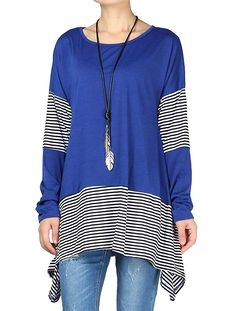 60a30ea859482 Mordenmiss Women s Stripes Asymmetry Tunic Swing Flowy Plain T-Shirt Top     You can