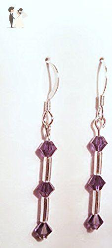 Purple Triple Crystal Swarovski & Silver Bugle Bead Earrings - Wedding earings (*Amazon Partner-Link)