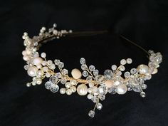 Delicate hair tiara in golden and white tones decorated with natural river pearls and shiny crystal beads. 100% handmade.Special design. Ready to ship.
