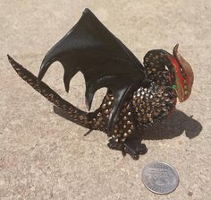 Mini black red and gold leather dragon bendable by artchik101, $70.00