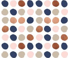 dots rose gold navy blue, taupe and blush pink dot fabric fabric by charlottewinter on Spoonflower - custom fabric