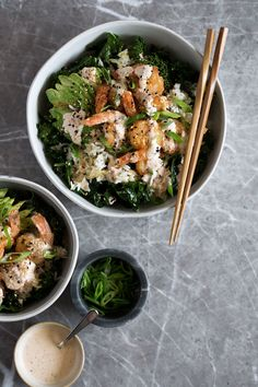 Spicy Shrimp Bowl with Crispy Rice and Kale recipe from cooking with cocktail rings #recipe #shrimp #ricebowl