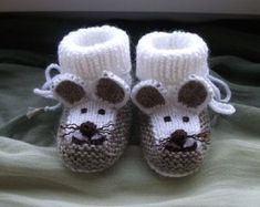 Knitted baby booties mouse booties