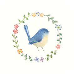 """Little Blue Bird and Wreath"" −RiLi, picture book, illustration, design…"