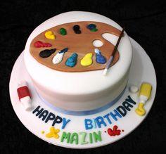 Wyatt likes this cake. painting cake | Flickr - Photo Sharing!