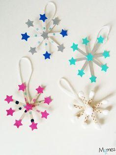 Voilà de ravissantes décorations pour le sapin à réaliser avec des enfants : Christmas Ornament Crafts, Christmas Crafts For Kids, Christmas Activities, Craft Stick Crafts, Christmas Projects, Simple Christmas, Diy Crafts For Kids, Kids Christmas, Holiday Crafts