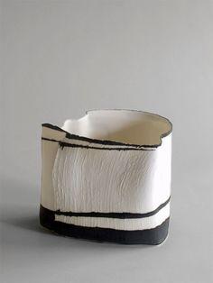white and black ceramic vessel clay pottery by Cristina-Popescu-Russu Ceramic Clay, Porcelain Ceramics, Ceramic Bowls, China Porcelain, Ceramic Pottery, White Ceramics, Painted Porcelain, Hand Painted, Earthenware