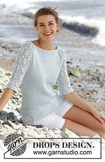 """Sea nymph / DROPS - free knitting patterns by DROPS design, DROPS pullover knitted from top to bottom in """"Muskat"""" with lace pattern and ¾-long raglan sleeves. Sizes S - XXXL. Lace Patterns, Knitting Patterns Free, Free Knitting, Free Pattern, Crochet Patterns, Knitting Tutorials, Finger Knitting, Scarf Patterns, Design Patterns"""