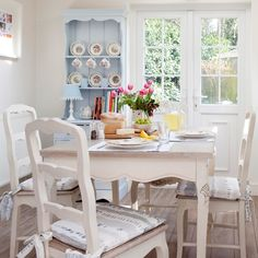 Cream and pale blue country kitchen