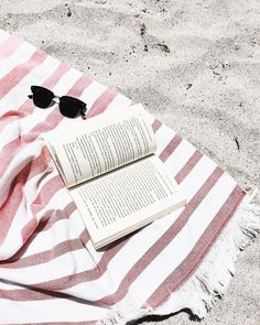 beach | summer | sunglasses | book | pastel | holiday | beach towel | striped | stripes | white | pink | sand