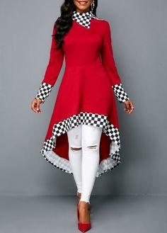 Plaid Print Zipper Back Dip Hem Sweatshirt Mode Mantel, Lace Dress With Sleeves, Patchwork Dress, Embellished Dress, Printed Sweatshirts, Outerwear Women, Mode Style, Look Fashion, African Fashion