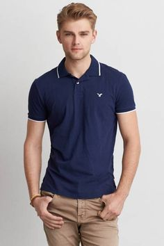 AEO Slim Tipped T-Shirt Polo by AEO | Iconic style, done right. Featuring an updated fit and new jersey fabric. Looks like a T, feels like a polo.  Shop the AEO Slim Tipped T-Shirt Polo and check out more at AE.com.