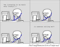 meme comic listening to music