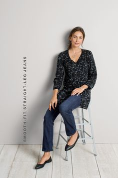 Smooth-fit straight-leg jeans