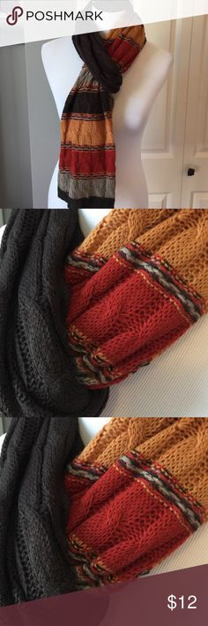 Fall colored rectangular scarf Cable knit weave Accessories Scarves & Wraps