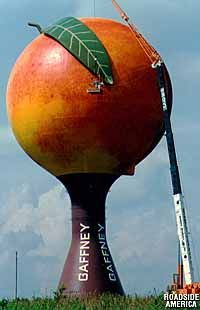 "This is the ""Peachoid"" water tower in Gafney, SC.    The image is from Roadside America: http://www.roadsideamerica.com/story/2213"