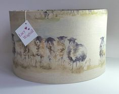 "Sheep - ""come-by"" fabric by Voyage - Handmade Lampshade - Scottish Country Style - Highland - Farm - Handmade Lampshade by LucyWagtail on Etsy"