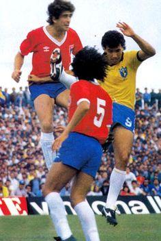 Manuel Pellegrini, en su único partido con la selección de fútbol de Chile (Brasil 1 - Chile 1, 7-5-1986)