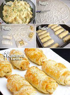 Multicolored Potato Pie Pastry Recipe, How To - Dinner Recipe Pie Pastry Recipe, Puff Pastry Recipes, Pie Recipes, Potato Recipes, Cookie Recipes, Potato Pie, Pain Garni, Iftar, Turkish Recipes