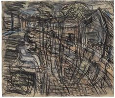 Leon Kossoff A Street in Willesden No. 1982 charcoal and pastel on paper 22 x 25 in. x cm) Framed: 25 x 29 in. x cm) Abstract Sketches, Art Sketches, Leon Kossoff, Sense Of Place, Paul Cezanne, Art Themes, Love Drawings, Landscape Paintings, Artists