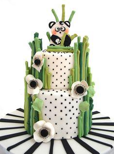 Baby Panda - Cake by Paola Manera- Penny Sue Panda Birthday Party, Panda Party, Cakepops, Bolo Panda, Panda Baby Showers, Panda Cakes, Animal Cakes, Different Cakes, Cake Decorating Tutorials