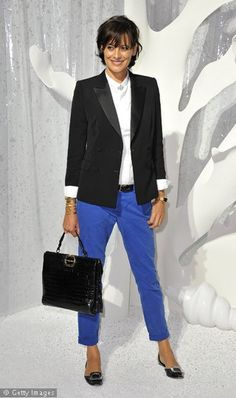 blue trousers with white shirt n black accessories