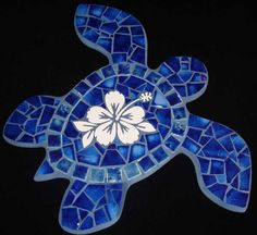 Large Antique Blue Mosaic Sea Turtle. Shady grove mosaics