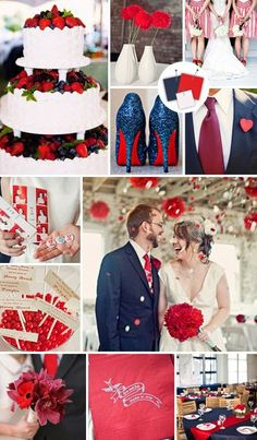 Six Classic Red Fall and Winter Wedding Color palettes   Navy blue ...