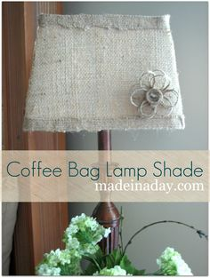 Twine flower and burlap lamp shade