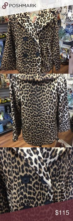 """Kilimanjaro-Leopard-Faux-Fur-Coat-Vintage Kilimanjaro Leopard Faux Fur Coat Mad Men Mid Century Modern Vintage Hollywood  Beautiful Mad Men, Swing style coat. Old Hollywood classy look. Four buttons in front two used for closure. There are two front pockets. No Size tag please check measurements, they are taken with garment laying flat and are to my best approximation.  Measurements  Armpit to armpit 19"""" x 2= 38""""  Sleeve 22""""  Shoulder seam to shoulder seam 15""""  Back collar seam to hem 25""""…"""