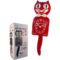 Amazon.com: New Classic Vintage Kit-cat Klock Scarlet Red Cat Clock... ($40) ❤ liked on Polyvore featuring home, home decor, clocks, vintage cat clock, cat clock, red clock, vintage home accessories and kitty cat clock