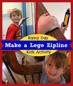Bored Kids? Build A Lego Zipline in Minutes #KidsIdeas