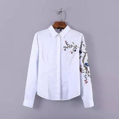 celebrity embroidery floral sleeve turn down collar women black blouses slim casual business ladies topLBCD0429-7896