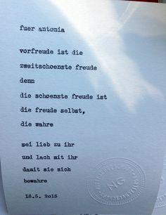 Sag mir ein Wort und ich schreib dir ein Gedicht. Inspiration: Freude