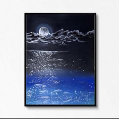Excited to share the latest addition to my #etsy shop: Handmade ocean with moon reflection acrylic painting wallhangings room decor #framed #bedroom #artdeco #landscapescenery #paper #landscapepainting #abstractpainting #modernabstract #modernpainting Seascape Paintings, Landscape Paintings, Instagram Shop, Large Wall Art, Handmade Art, Modern Art, Reflection, Art Deco, Room Decor