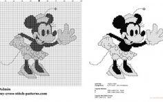 Disney Minnie Mouse vintage black and white cross stitch pattern