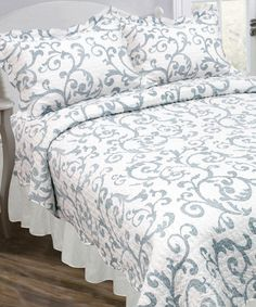 Another great find on #zulily! Blue & White Floral Vintage Reversible Quilt Set #zulilyfinds