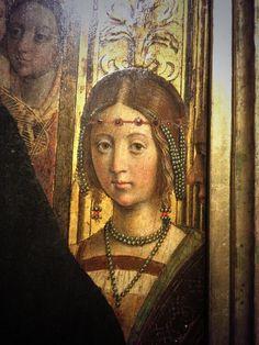 Particolare Defendente Ferrari Renaissance Jewelry, Renaissance Fashion, Italian Renaissance, 15th Century Clothing, Art Story, Painted Ladies, Medieval Art, Woman Painting, Female Portrait