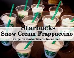 Remember wishing everyday could be a snow day? Enjoy a Snow Cream Frappuccino for a snowy looking treat that tastes as good as it looks. Find out how to order one here. Snow Cream Frappuccino, Frappuccino Recipe, Starbucks Frappuccino, Starbucks Coffee, Starbucks Secret Menu Drinks, Starbucks Recipes, Coffee Recipes, Starbucks Products, Drink Recipes