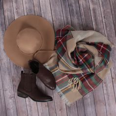 Fall Essentials // Monogrammed Blanket Scarf from Marleylilly.com // Hat and Booties from MondayDress.com