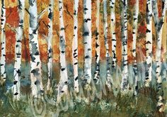 "Bring the outdoors in with an original watercolor landscape painting. This tree art pictures birch trees ( or aspen trees) with the glorious red and yellow fall foliage.  The watercolor landscape painting would look good anywhere that you want to remember the joys of the outdoors. The winter painting is an ORIGINAL watercolor...google schulmanArt to see all my art and designs.    ________________________________________________________________  Title: Birch trees  Size: 8x10"" Original…"